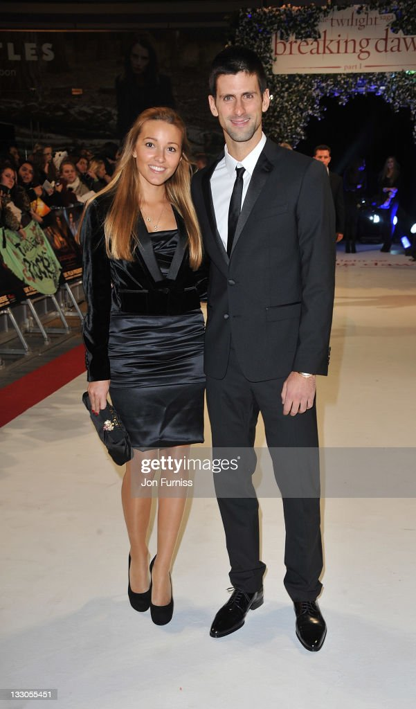 Jelena Ristic (L) and Novak Djokovic attends 'The Twilight Saga: Breaking Dawn Part 1' UK Premiere, at Westfield Stratford City on November 16, 2011 in London, England.