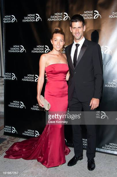 Jelena Ristic and Tennis player Novak Djokovic founder and honorary chair attend The Novak Djokovic Foundation's inaugural dinner at Capitale on...