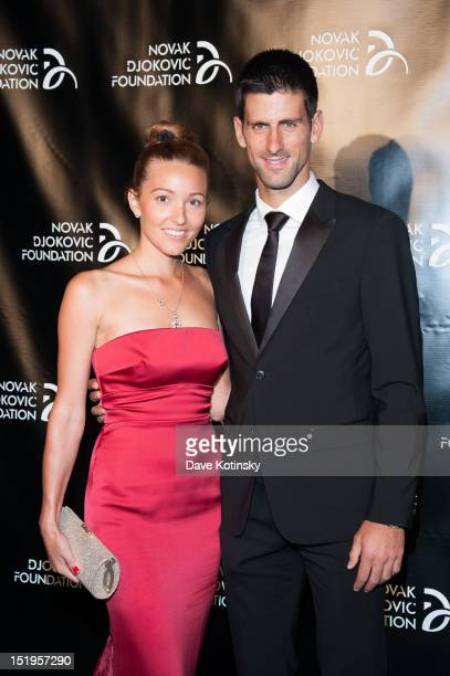Jelena Ristic and Tennis player Novak Djokovic founder and honorary chair attends The Novak Djokovic Foundation's inaugural dinner at Capitale on...