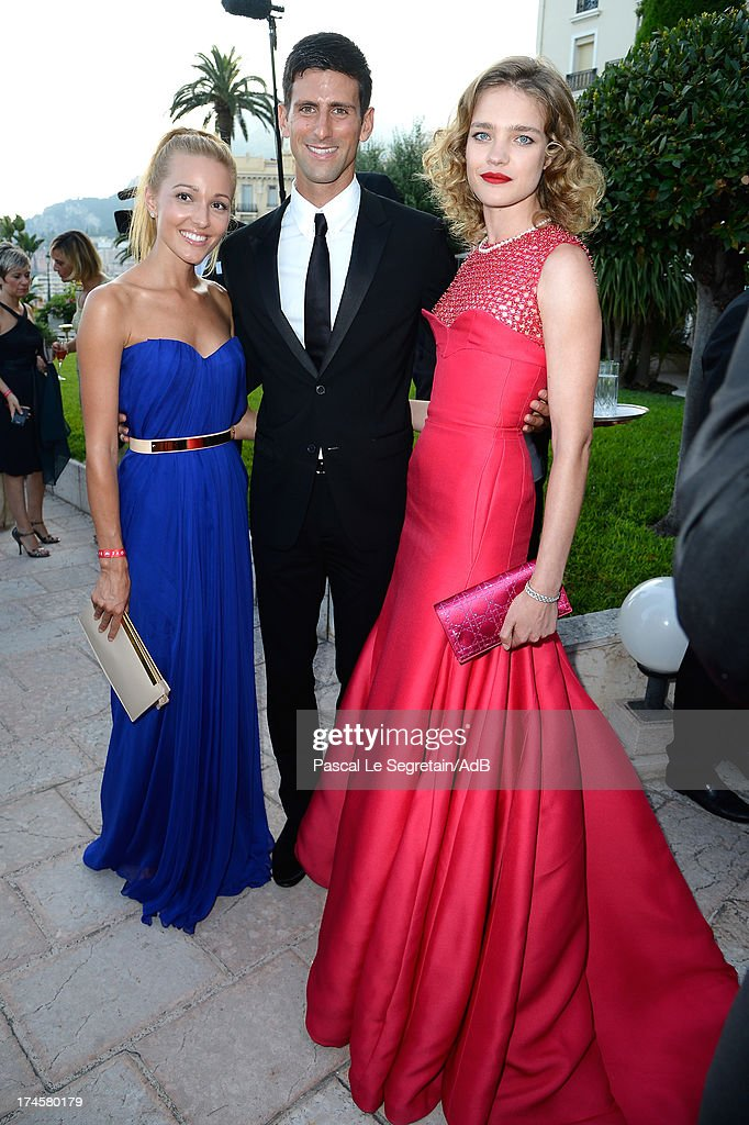 Jelena Ristic, Novak Djokovic and Natalia Vodianova attend the cocktail at the 'Love Ball' hosted by Natalia Vodianova in support of The Naked Heart Foundation at Opera Garnier on July 27, 2013 in Monaco, Monaco.