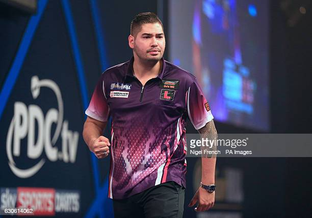 Jelle Klaasen celebrates after beating Brendan Dolan during day eleven of the William Hill World Darts Championship at Alexandra Palace London