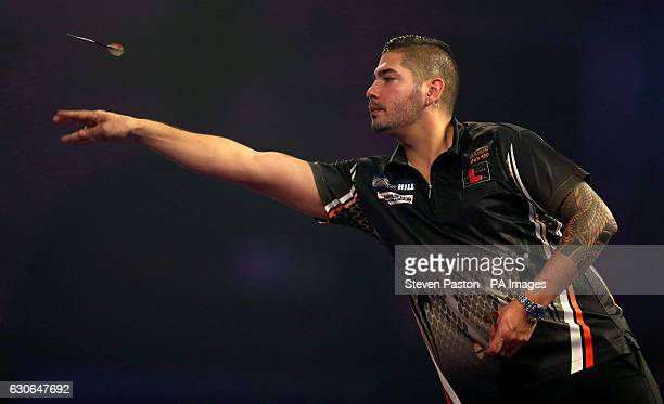 Jelle Klaasen in action during day twelve of the William Hill World Darts Championship at Alexandra Palace London