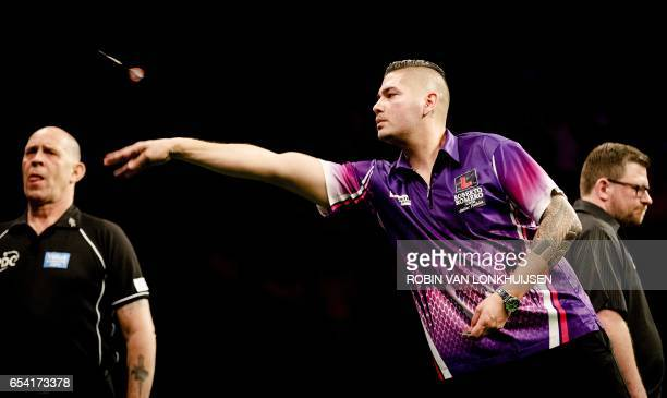Jelle Klaasen of the Netherlands plays a game against James Wade during the Premier League Darts in Ahoy Rotterdam on March 16 2017 / AFP PHOTO / ANP...