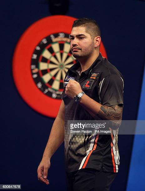 Jelle Klaasen reacting during day twelve of the William Hill World Darts Championship at Alexandra Palace London