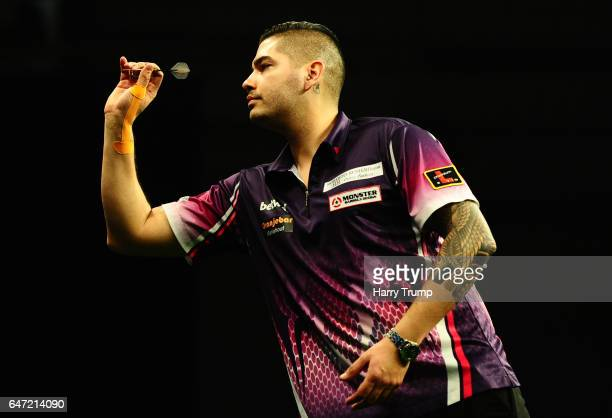 Jelle Klaasen throws during Night Five of the Betway Premier League Darts at Westpoint Arena on March 2 2017 in Exeter England