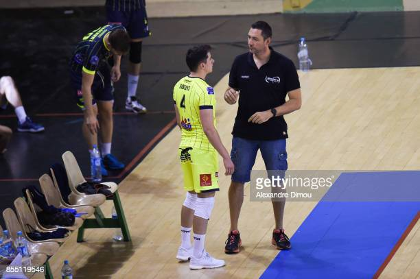 Jelle Ribbens and Stephane Sapinart Coach of Toulouse during the Volleyball friendly match on September 22 2017 in Montpellier France