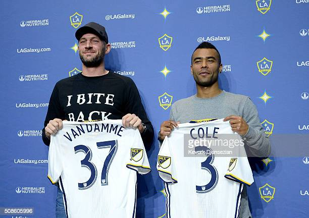 Jelle Van Damme and Ashley Cole of the Los Angeles Galaxy are introduced during a news conference at StubHub Center February 5 in Carson California