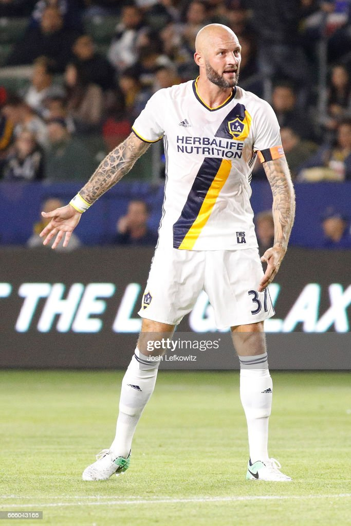 Jelle Van Damme #37 of Los Angeles Galaxy reacts to the call during Los Angeles Galaxy's MLS match against Montreal Impact at StubHub Center on April 7, 2017 in Carson, California.