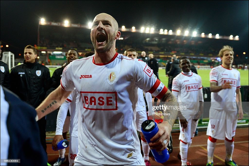 Jelle Van Damme of Standard celebrates after the Jupiler League match play-off 1 between Zulte Waregem and Standard de Liege on April 12, 2013 in Waregem, Belgium.