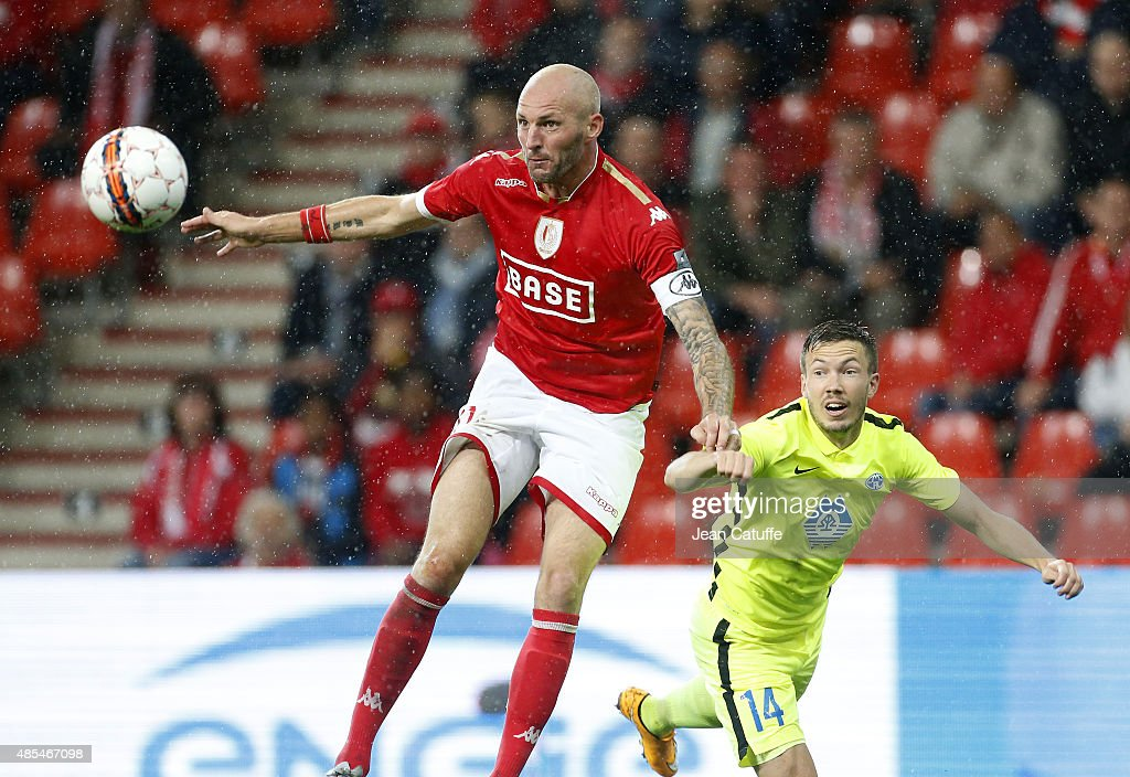 Jelle Van Damme of Standard de Liege and Martin Linnes of Molde FK in action during the UEFA Europa League play off round 2nd leg between Standard...