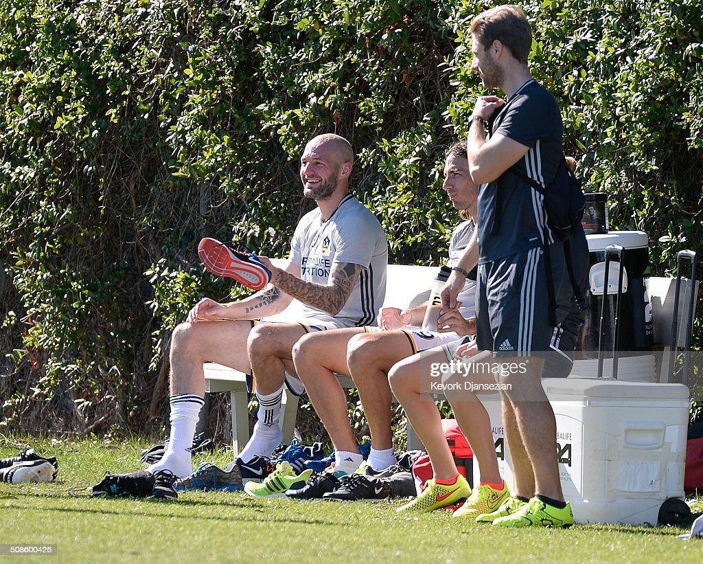 Jelle Van Damme #37 of the Los Angeles Galaxy trains at StubHub Center February 5, 2016, in Carson, California.
