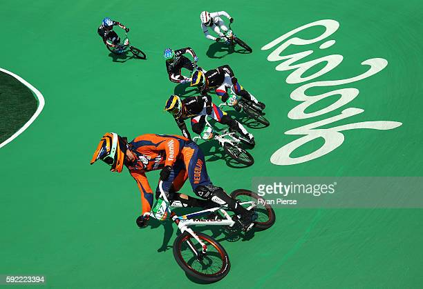 Jelle van Gorkom of the Netherlands competes during the Men's BMX Semi Final on day 14 of the Rio 2016 Olympic Games at the Olympic BMX Centre on...