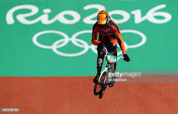 Jelle van Gorkom of the Netherlands is seen during the Men's BMX semi final during day 14 at Olympic BMX Centre on August 19 2016 in Rio de Janeiro...