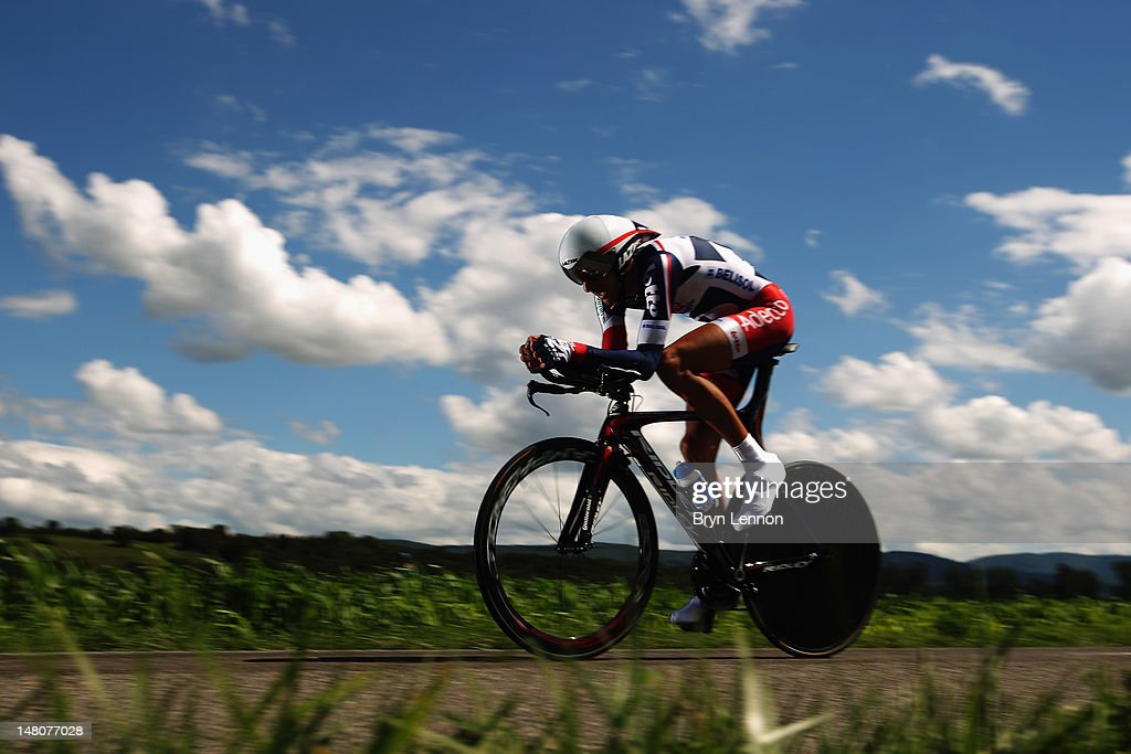 Jelle Vanendert of Lotto-Belisol team in action during stage nine of the 2012 Tour de France, a 41.5km individual time trial, from Arc-et-Senans to Besancon on July 9, 2012 in Besancon, France.