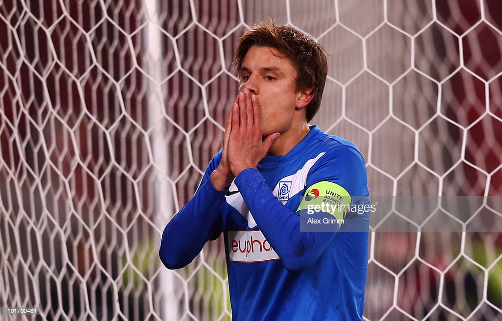 <a gi-track='captionPersonalityLinkClicked' href=/galleries/search?phrase=Jelle+Vossen&family=editorial&specificpeople=5881854 ng-click='$event.stopPropagation()'>Jelle Vossen</a> of Genk reacts during the UEFA Europa League Round of 32 first leg match between VfB Stuttgart and KRC Genk at Mercedes-Benz Arena on February 14, 2013 in Stuttgart, Germany.
