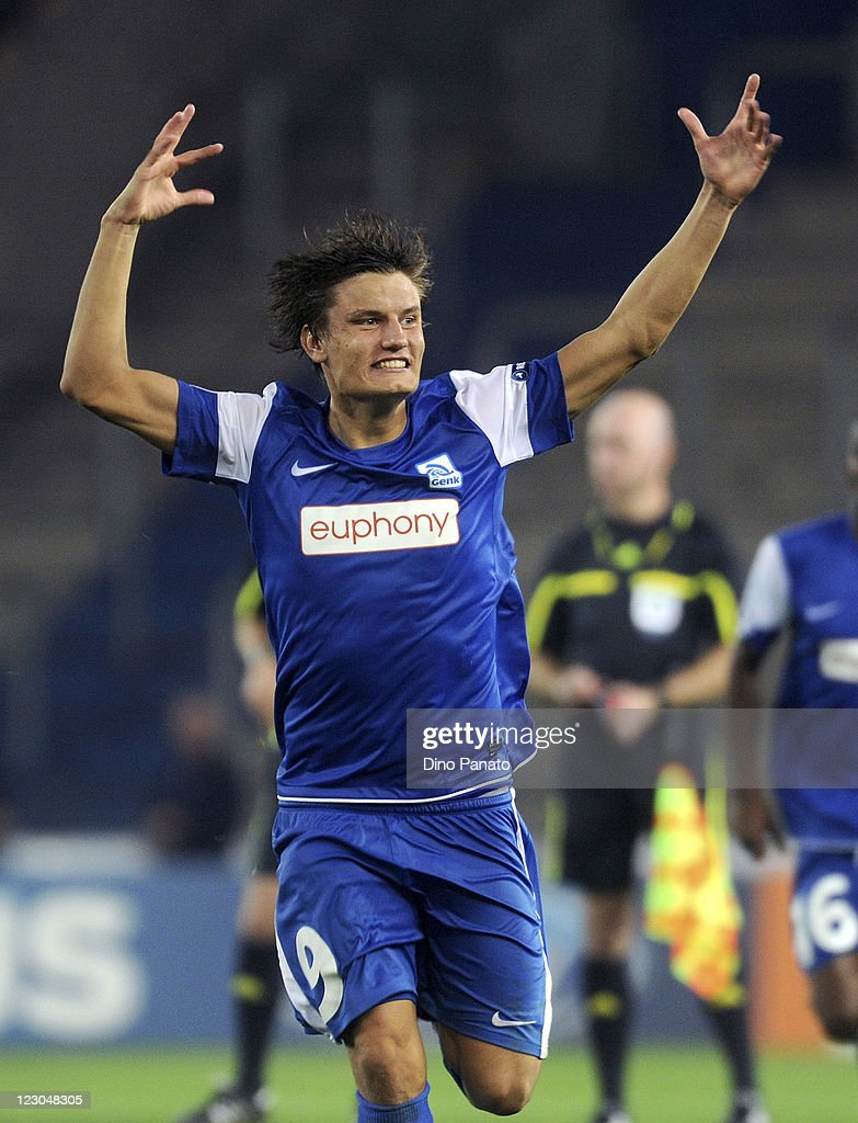 <a gi-track='captionPersonalityLinkClicked' href=/galleries/search?phrase=Jelle+Vossen&family=editorial&specificpeople=5881854 ng-click='$event.stopPropagation()'>Jelle Vossen</a> of KRC Genk celebrates after scoring his team's opening goal during the UEFA Champions League playoff match between KRC Genk and Maccabi Haifa FC at Cristal Arena on August 23, 2011 in Genk, Belgium.