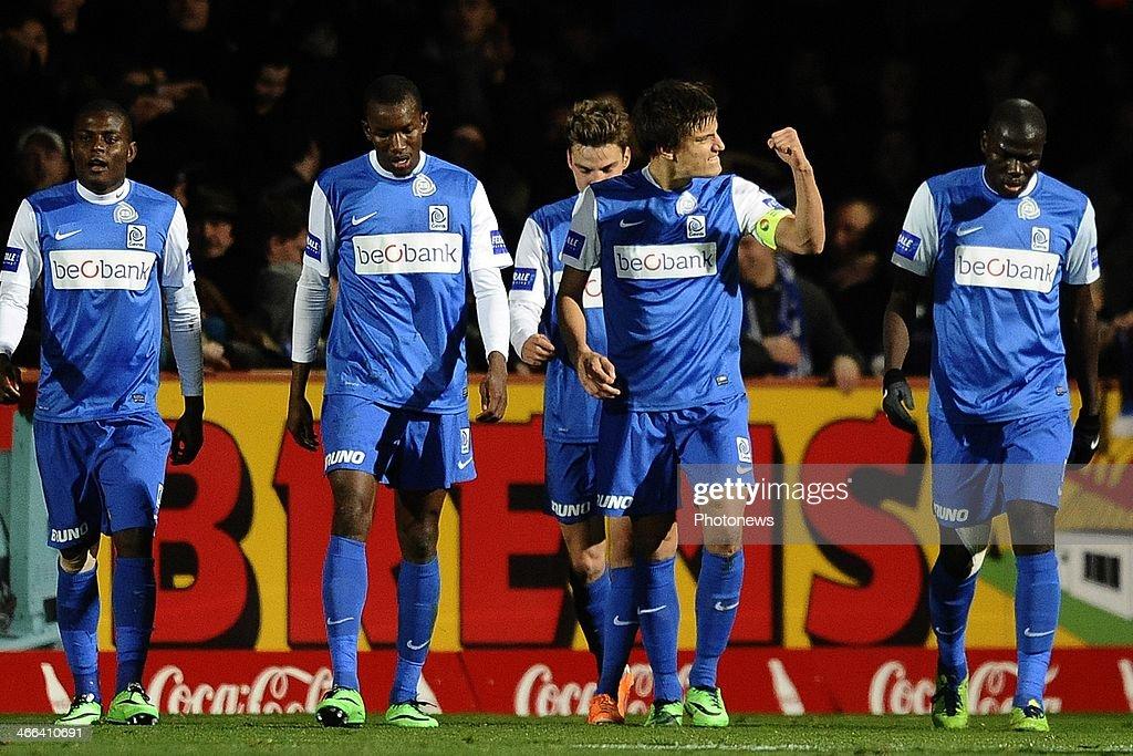 Jelle Vossen of KRC Genk celebrates scoring a goal during the Jupiler Pro League match between KV Mechelen and KRC Genk on February 1 2014 in...
