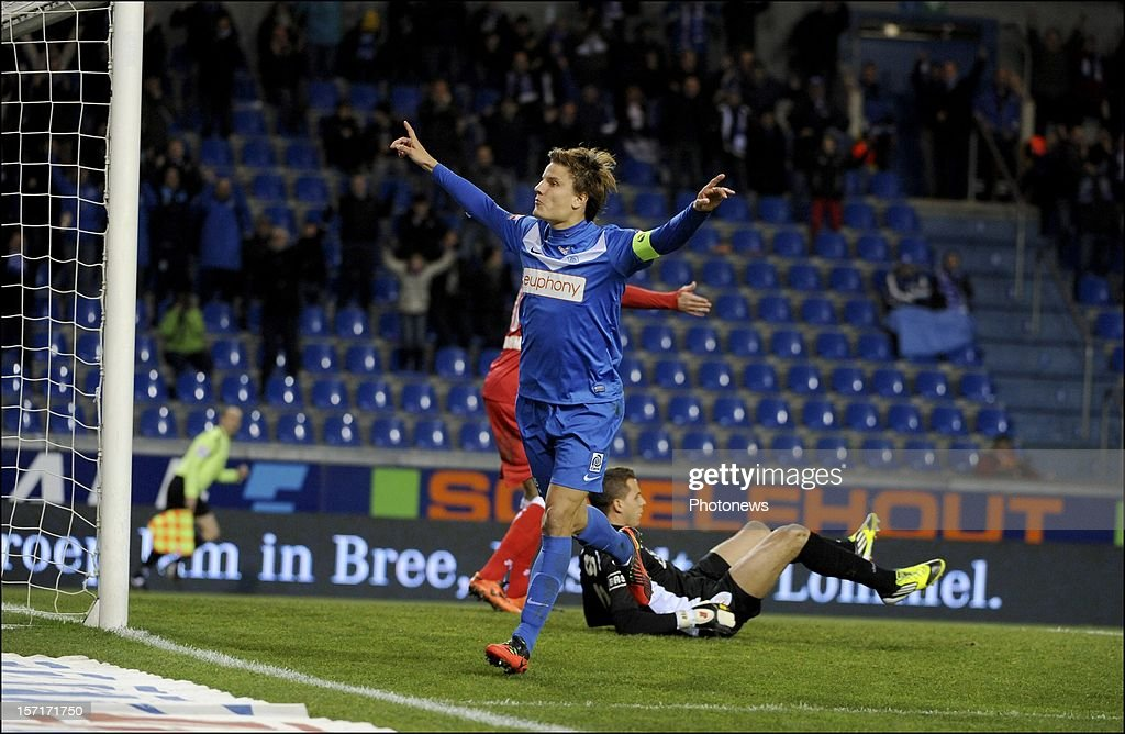 Jelle Vossen of KRC Genk celebrates scoring a goal pictured during the Cofidis cup match between KRC Genk vs Standard of Liege on November 29, 2012 in Genk , Belgium.