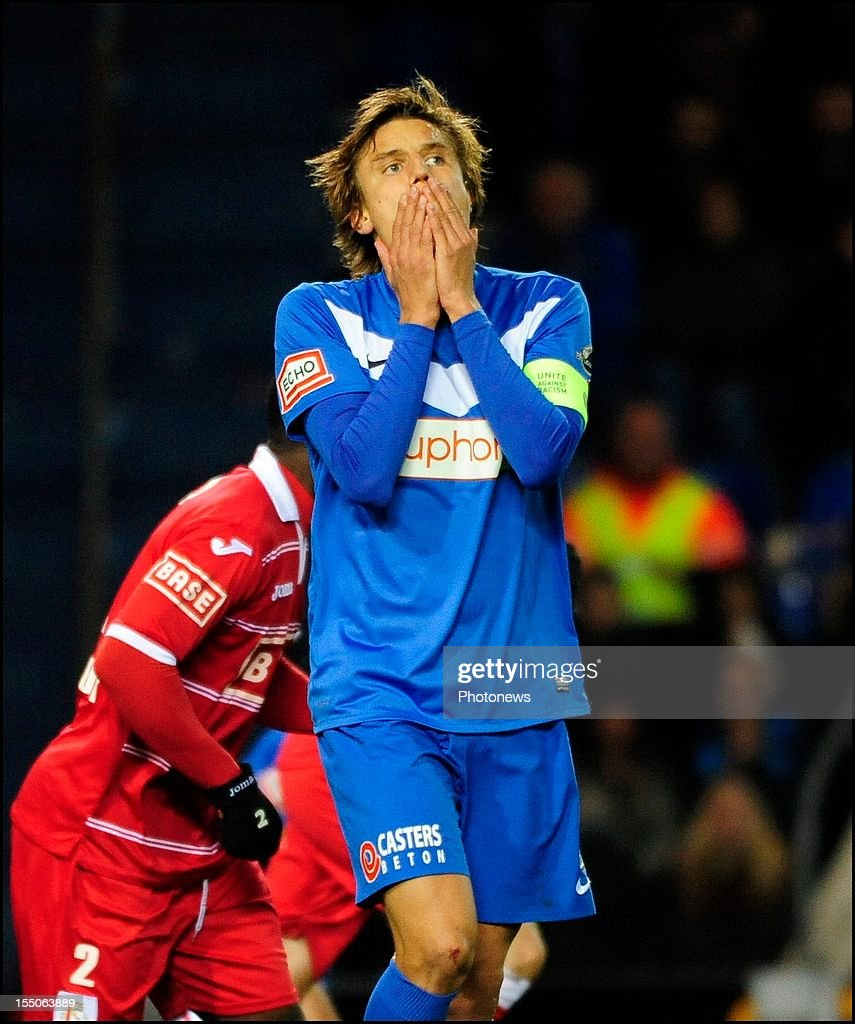 <a gi-track='captionPersonalityLinkClicked' href=/galleries/search?phrase=Jelle+Vossen&family=editorial&specificpeople=5881854 ng-click='$event.stopPropagation()'>Jelle Vossen</a> of KRC Genk reacts during the Jupiler League match between K R C Genk and Standard of Liege on October 31, 2012 in Genk , Belgium.