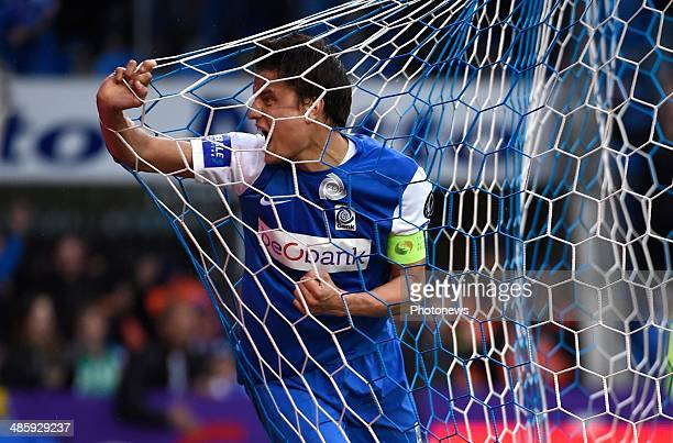 Jelle Vossen of Krc Genk reacts during the Jupiler Pro League PlayOff 1 match between KRC Genk and RSC Anderlecht on April 21 2014 in Genk Belgium