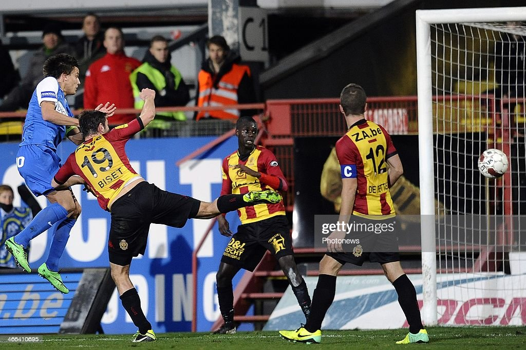 Jelle Vossen of KRC Genk scores the opening goal during the Jupiler Pro League match between KV Mechelen and KRC Genk on February 1 2014 in Mechelen...