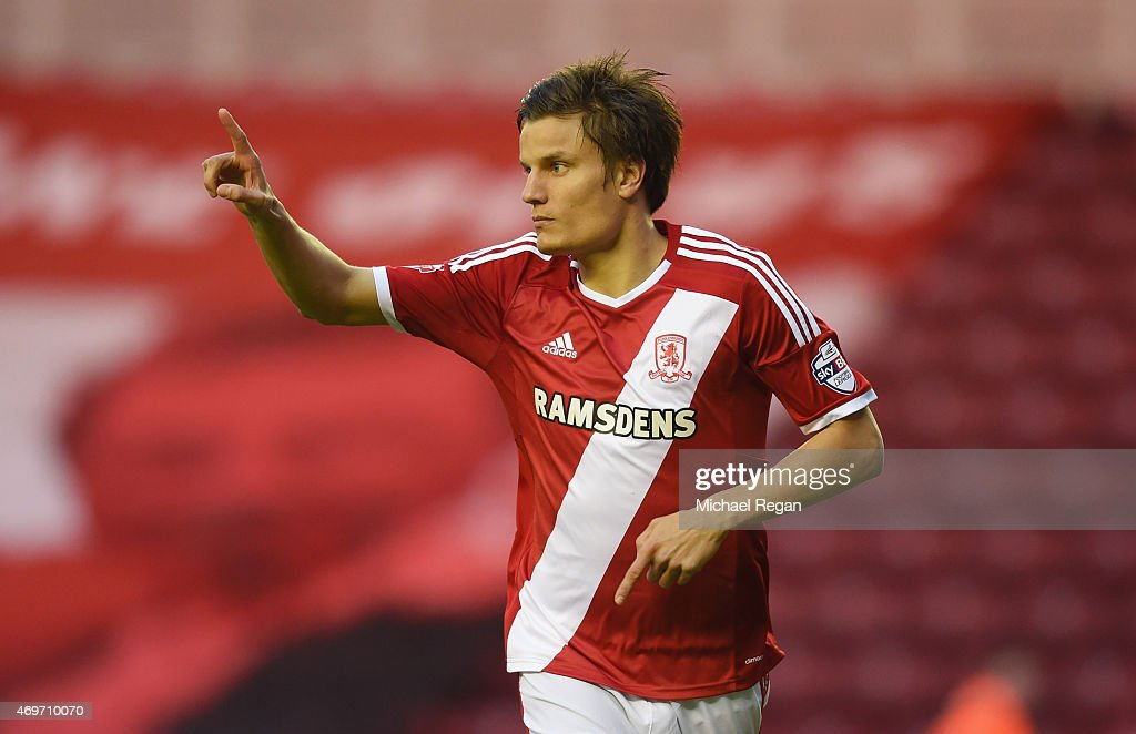 <a gi-track='captionPersonalityLinkClicked' href=/galleries/search?phrase=Jelle+Vossen&family=editorial&specificpeople=5881854 ng-click='$event.stopPropagation()'>Jelle Vossen</a> of Middlesbrough celebrates as he scores their first goal during the Sky Bet Championship match between Middlesbrough and Wolverhampton Wanderers at Riverside Stadium on April 14, 2015 in Middlesbrough, England.