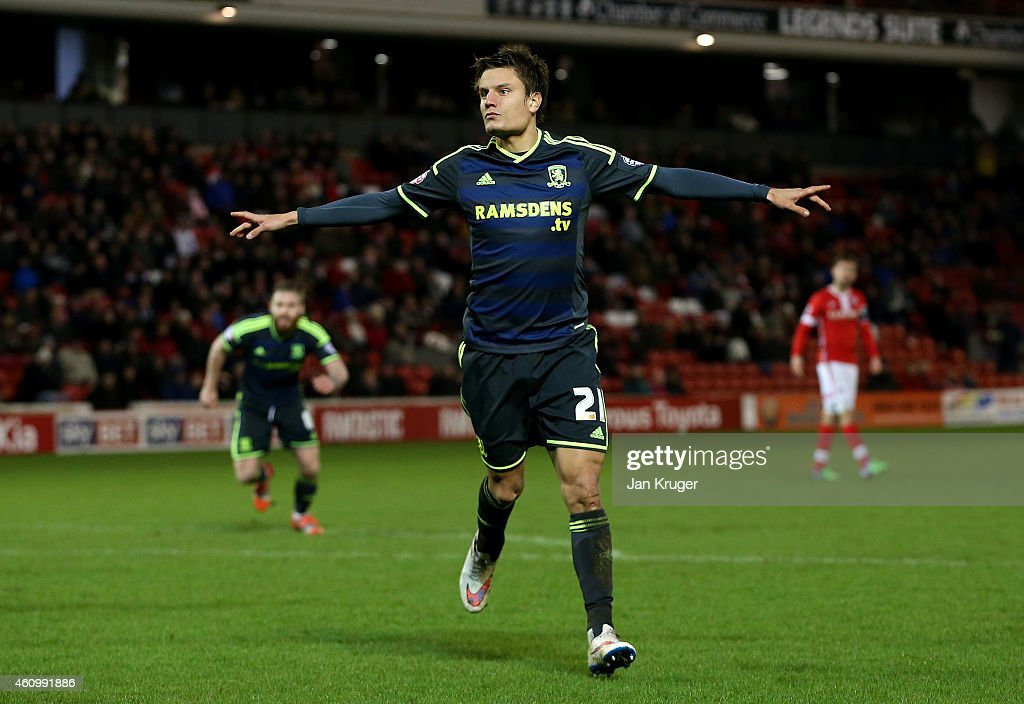 <a gi-track='captionPersonalityLinkClicked' href=/galleries/search?phrase=Jelle+Vossen&family=editorial&specificpeople=5881854 ng-click='$event.stopPropagation()'>Jelle Vossen</a> of Middlesbrough celebrates his goal during the FA Cup Third Round match between Barnsley and Middlesbrough at Oakwell Stadium on January 3, 2015 in Barnsley, England.