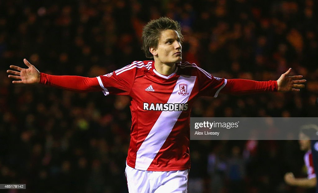 <a gi-track='captionPersonalityLinkClicked' href=/galleries/search?phrase=Jelle+Vossen&family=editorial&specificpeople=5881854 ng-click='$event.stopPropagation()'>Jelle Vossen</a> of Middlesbrough celebrates scoring their third goal during the Sky Bet Championship match between Middlesbrough and Millwall at Riverside Stadium on March 3, 2015 in Middlesbrough, England.