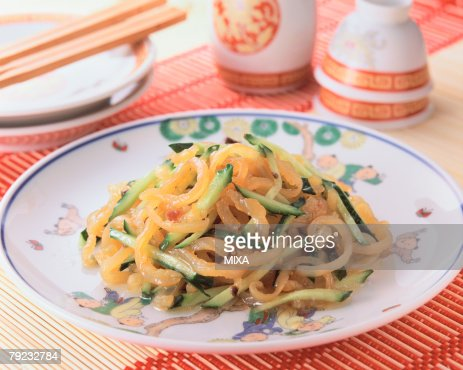 Jelly Fish with Cucumber : Stock Photo