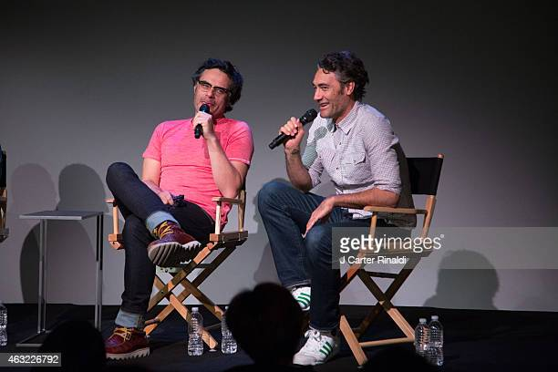 Jemaine Clement and Taika Waititi speak during The Apple Store Soho Presents Meet the Filmmakers Jemaine Clement and Taika Waititi 'What We Do in the...
