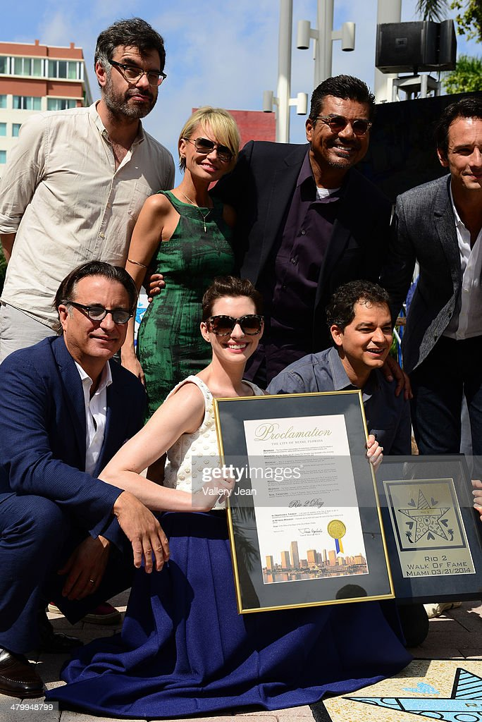 Jemaine Clement, Kristin Chenoweth, George Lopez, Rodrigo Santoro, Andy Garcia, Anne Hathaway and Carlos Saldanha attend Miami Walk Of Fame unveiling at Bayside Marketplace on March 21, 2014 in Miami, Florida.