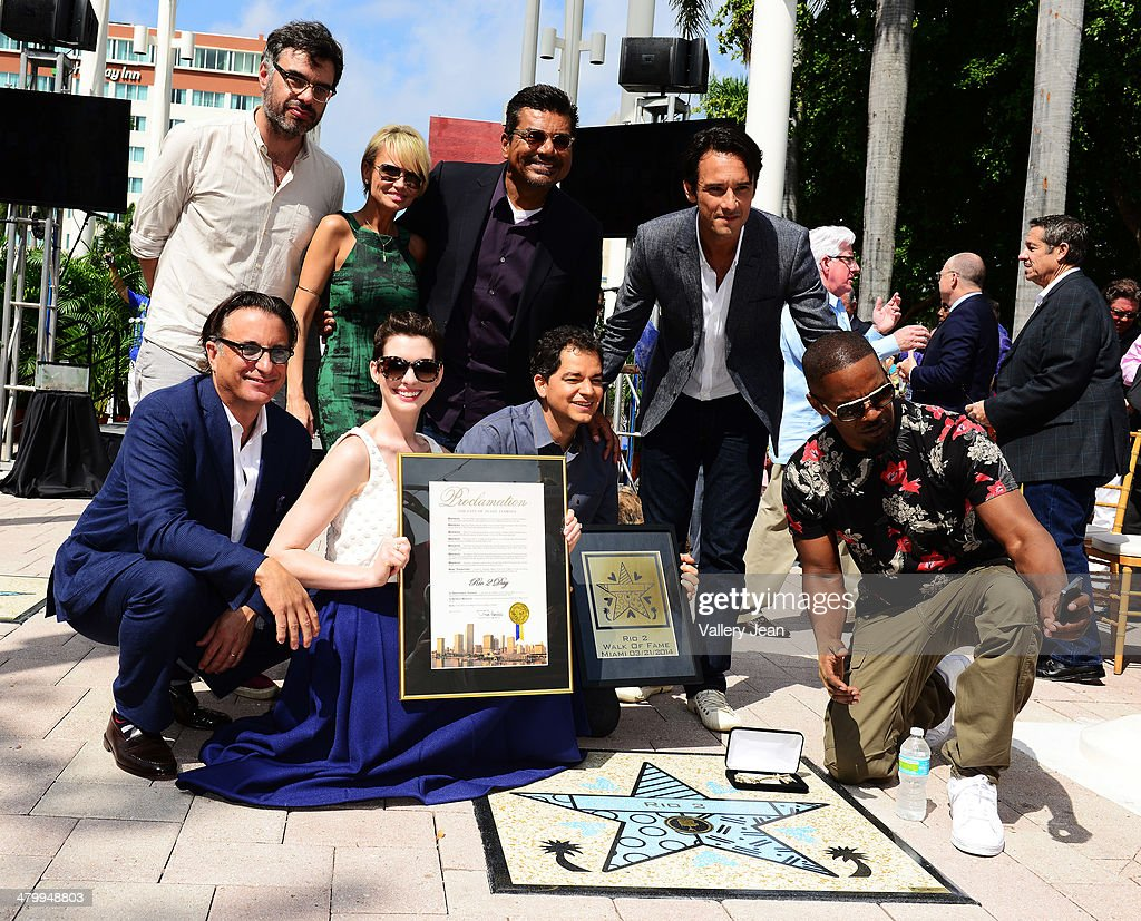 Jemaine Clement, Kristin Chenoweth, George Lopez, Rodrigo Santoro, Andy Garcia, Anne Hathaway, Carlos Saldanha and Jamie Foxx attend Miami Walk Of Fame unveiling at Bayside Marketplace on March 21, 2014 in Miami, Florida.