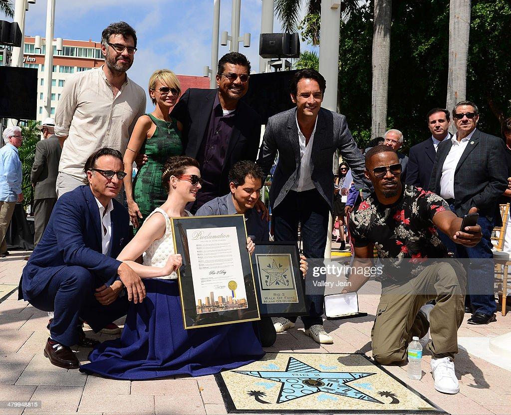 Jemaine Clement, Kristin Chenoweth, George Lopez, Rodrigo Santoro, Andy Garcia, Anne Hathaway, Carlos Saldanha and Jamie Foxx attend Miami Walk Of Fame unveiling at Bayside Marketplace on March 21, 2014 in Miami, Florida.