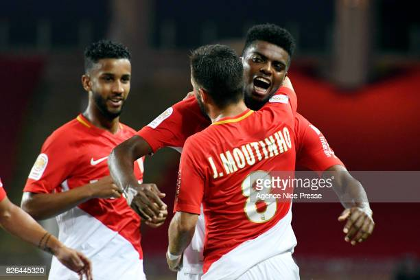 Jemerson and teammates Joao Moutinho of Monaco celebrates his goal during the Ligue 1 match between AS Monaco and Toulouse at Stade Louis II on...