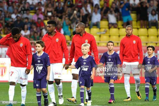 Jemerson Djibril Sidibe and Kylian Mbappe of Monaco during the Ligue 1 match between AS Monaco and Toulouse at Stade Louis II on August 4 2017 in...