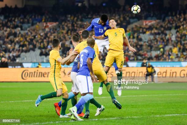 Jemerson Nascimento competes with Mark Milligan during play as Brazil plays Australia in the Chevrolet Brasil Global Tour 2017 on June 13 2017 in...