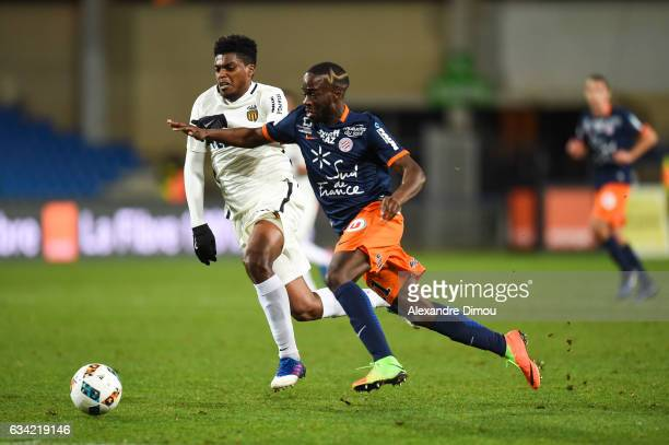 Jemerson of Monaco and Jonathan Ikone of Montpellier during the French Ligue 1 match between Montpellier and Monaco at Stade de la Mosson on February...