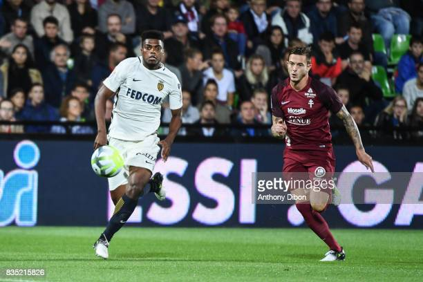 Jemerson of Monaco and Nolan Roux of Metz during the Ligue 1 match between FC Metz and AS Monaco on August 18 2017 in Metz