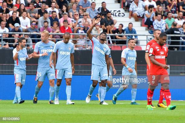Jemerson of Monaco celebrate his goal with team mates during the Ligue 1 match between Dijon FCO and AS Monaco at Stade Gaston Gerard on August 13...