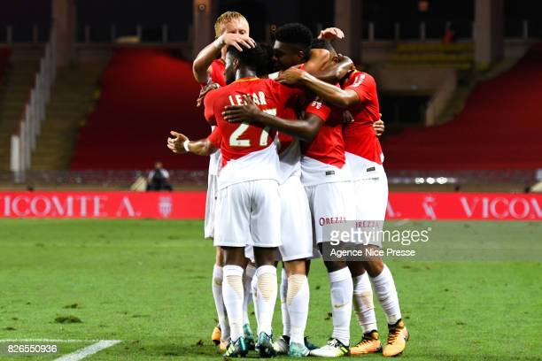 Jemerson of Monaco celebrates his goal with teammates during the Ligue 1 match between AS Monaco and Toulouse at Stade Louis II on August 4 2017 in...