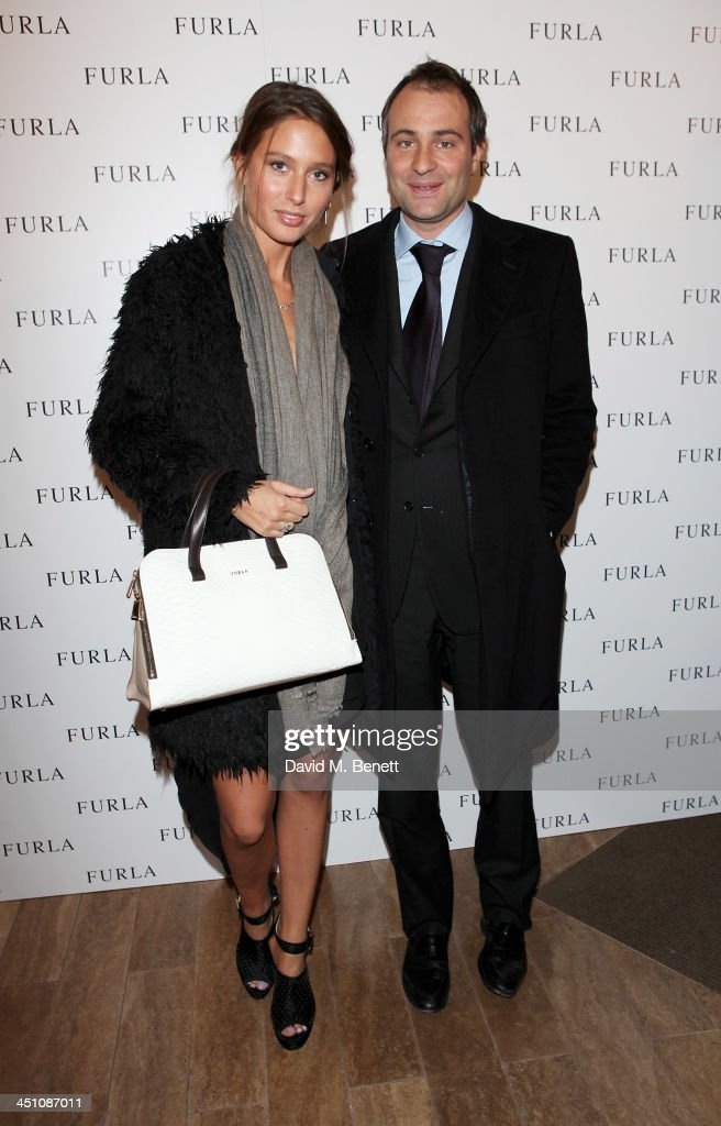 Jemima Jones and Ben Goldsmith attend the Furla flagship store reopening on November 21 2013 in London England