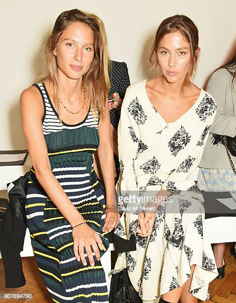 Jemima Jones and Quentin Jones attend the Pringle Of Scotland Womenswear Spring/Summer 2017 LFW Show at One Marylebone on September 19 2016 in London...