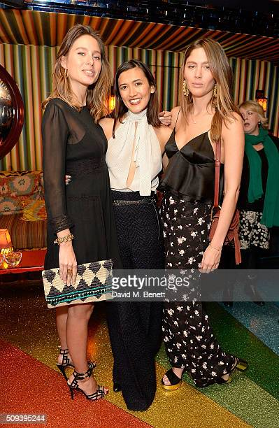 Jemima Jones Hikari Yokoyama and Quentin Jones attend the Kilian Boutique Launch Party at Loulou's on February 10 2016 in London England