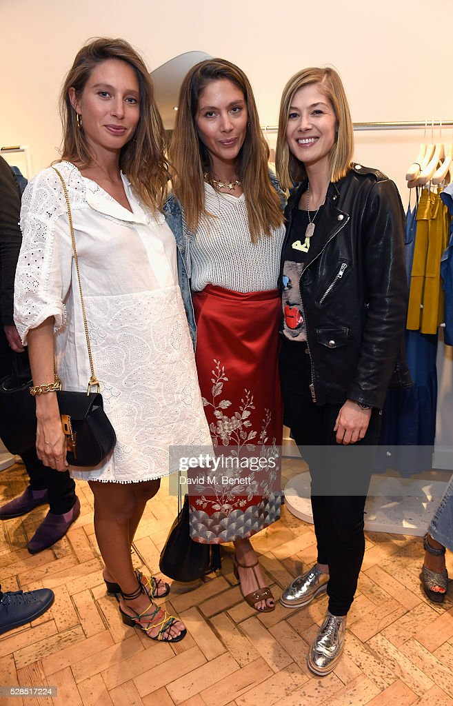 Jemima Jones, Quentin Jones and Rosamund Pike attend M.i.h Jeans' 10th Anniversary Celebration at their pop-up concept store on Upper James Street on May 5, 2016 in London, England.