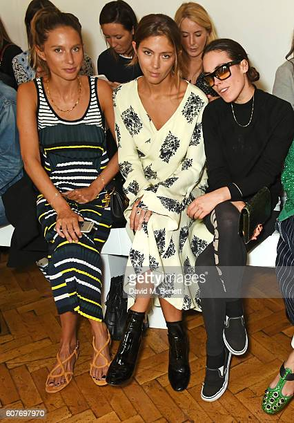 Jemima Jones Quentin Jones and Tallulah Harlech sit in the front row at the Pringle Of Scotland Womenswear Spring/Summer 2017 LFW Show at One...