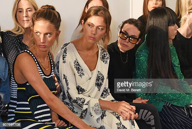 Jemima Jones Quentin Jones Tallulah Harlech and Susanna Lau sit in the front row at the Pringle Of Scotland Womenswear Spring/Summer 2017 LFW Show at...