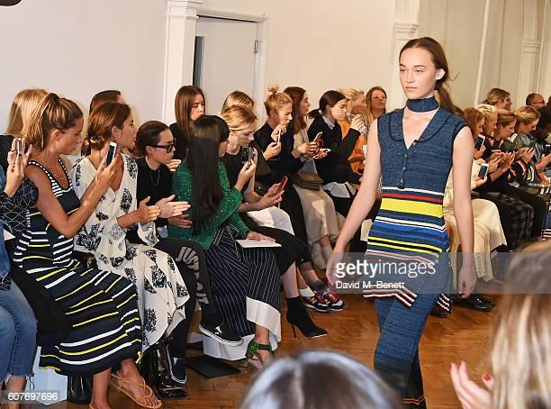 Jemima Jones Quentin Jones Tallulah Harlech Susanna Lau and Portia Freeman sit in the front row at the Pringle Of Scotland Womenswear Spring/Summer...