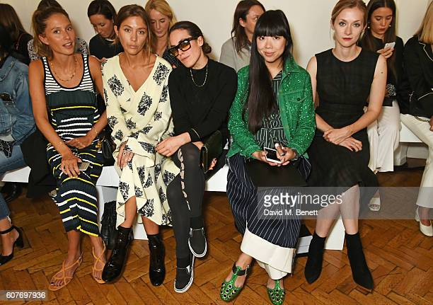 Jemima Jones Quentin Jones Tallulah Harlech Susanna Lau and Portia Freeman sit in the front row at the Pringle Of Scotland Womenswear Spring/Summer...
