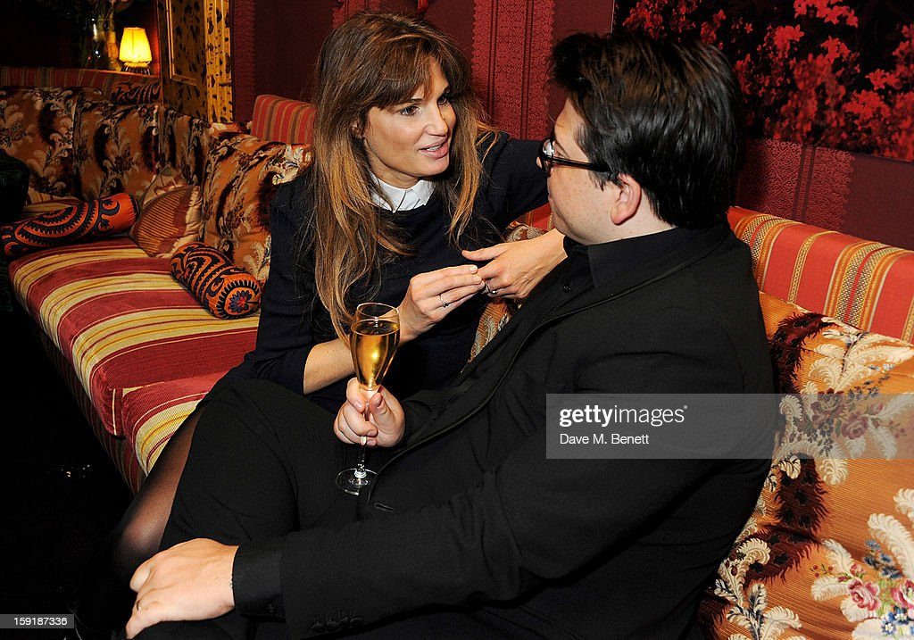 Jemima Khan (L) and Michael McIntyre attend a private dinner hosted by Tom Ford to celebrate his runway show during London Collections: MEN AW13 at Loulou's on January 9, 2013 in London, England.