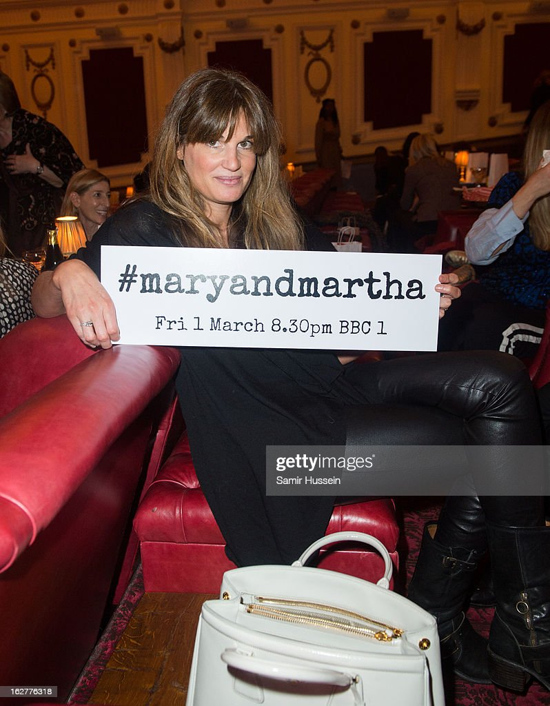 <a gi-track='captionPersonalityLinkClicked' href=/galleries/search?phrase=Jemima+Khan&family=editorial&specificpeople=206925 ng-click='$event.stopPropagation()'>Jemima Khan</a> attends the private screening of Mary & Martha, hosted by Emma Freud at the Electric Cinema on February 26, 2013 in London, England. The film, by Richard Curtis, which airs on BBC1 on Friday 1st March at 8.30pm stars Hilary Swank as Mary and Brenda Blethyn as Martha, an American and and Englishwoman who have little in common apart from the tragedy of losing a son to malaria, that unexpectedly brings them together.